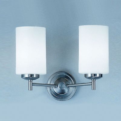 Dareham Double Wall in a Satin Nickel Finish with Opal Glass Shades